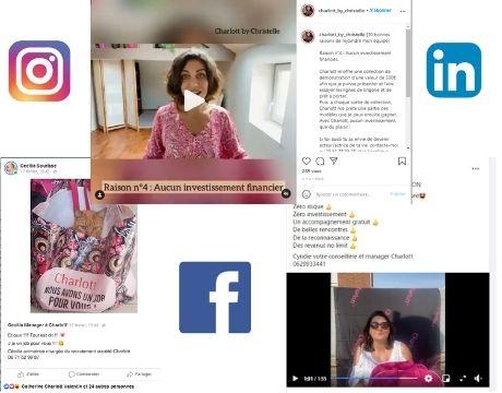 Recruter et devenir VDI Charlott' via Facebook, Linkedin et Instagram